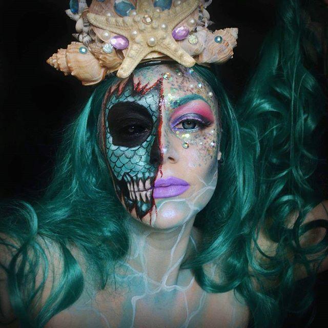 Creepy Scary Mermaid Halloween Facepaint Makeup Mermaid Makeup