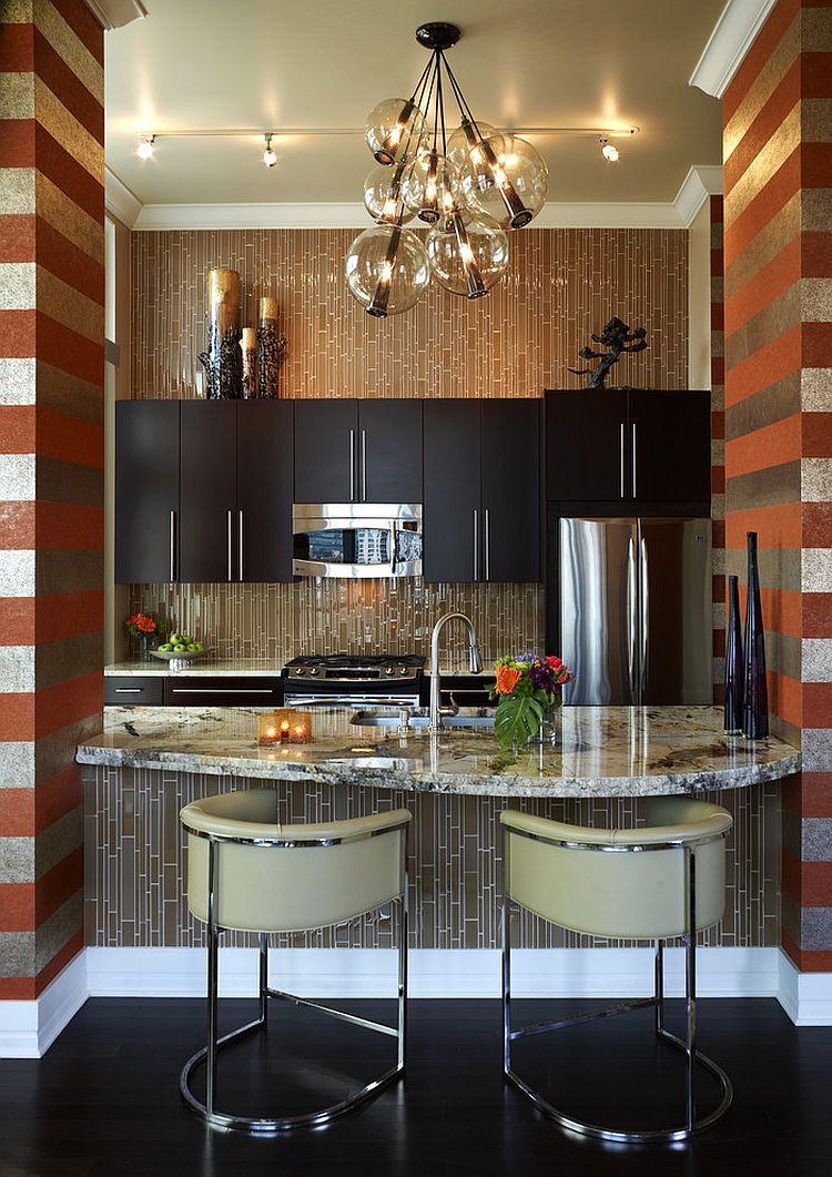 Küche interieur farbschemata beeindruckende holz küche horizontal gestreifte tapete  jede küche