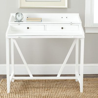 Safavieh Wyatt Writing Desk Wayfair Available In White Gray Black Oak Can Be Closed Compl White Writing Desk Small White Desk Small White Writing Desk