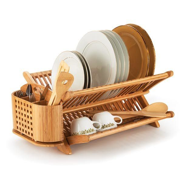 View A Larger Image Of Bamboo Eco Dish Rack With 20 8520 Utensil Holder Bamboo Dishes Wooden Dish Rack Dish Rack
