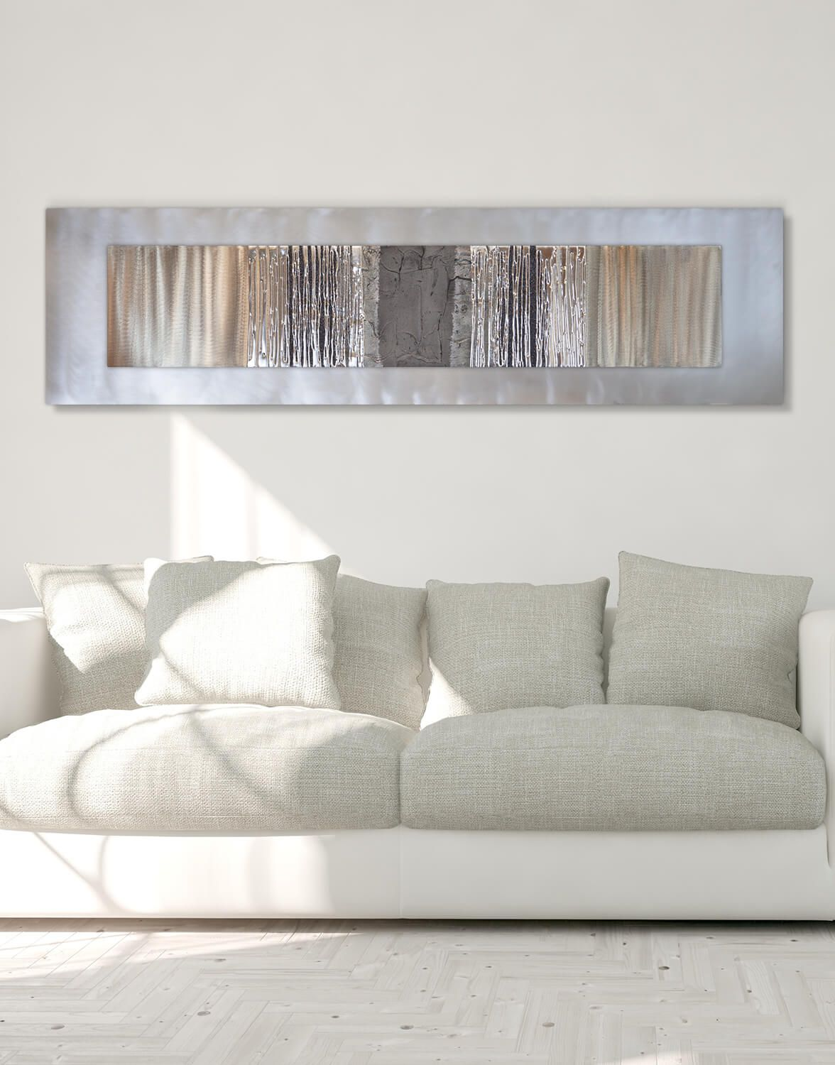 Echo Oak Grey Silver Wall Art Contemporary Art Uk Large Metal