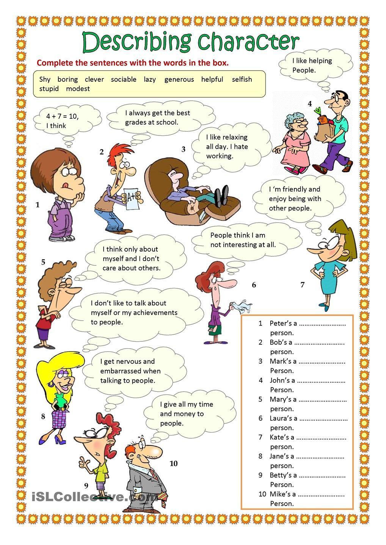 worksheet Esl Personality Worksheet describing character part 1 teaching english pinterest worksheet free esl printable worksheets made by teachers