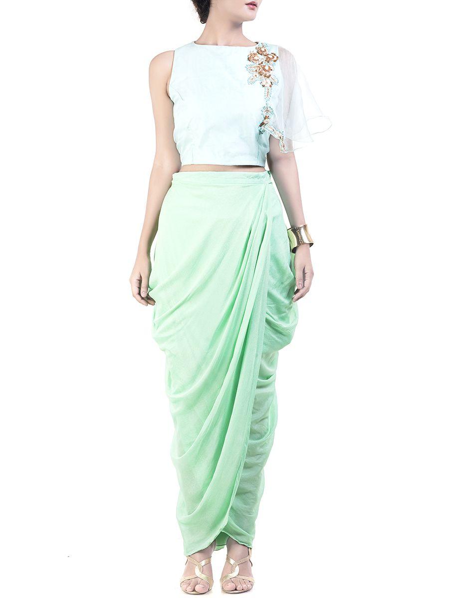 ecac673579 Stylish Blue Crop-top Dhoti Skirt Set  Ekatrra  Womenwear  Dress  Trendy   Vintage  Onlineshopping  Gift  Follow  Fashionable  Comfortable   Trendsetter ...