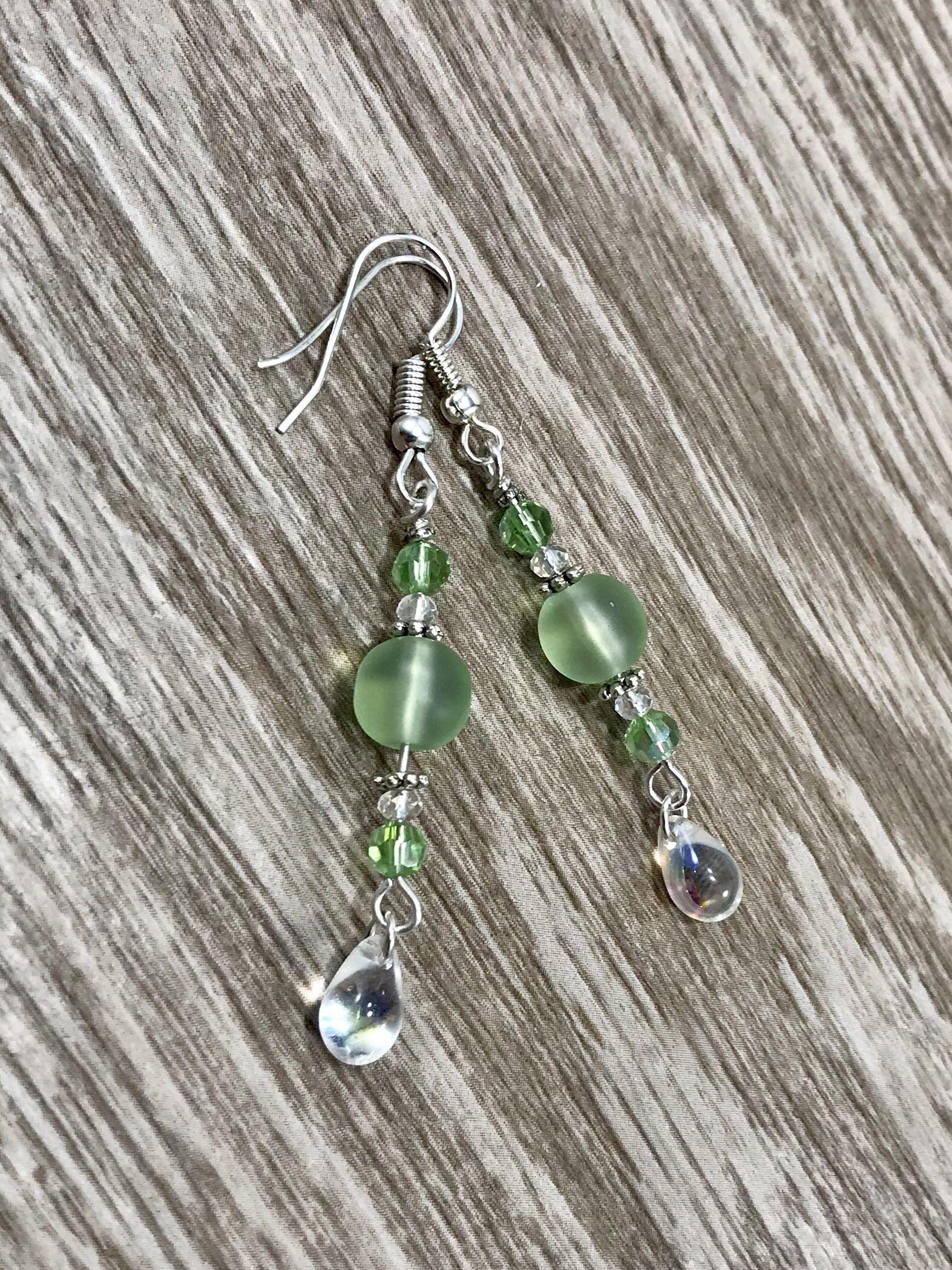 Green Glass Lever Back Earrings Beachy Jewelry Gift Idea