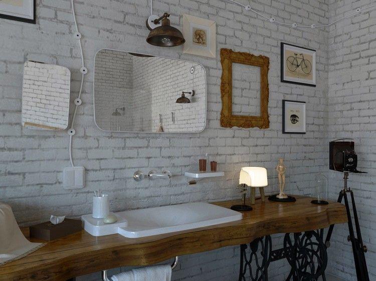 d co salle de bain r tro brique de parement blanc neige comptoir en bois massif et tableaux. Black Bedroom Furniture Sets. Home Design Ideas