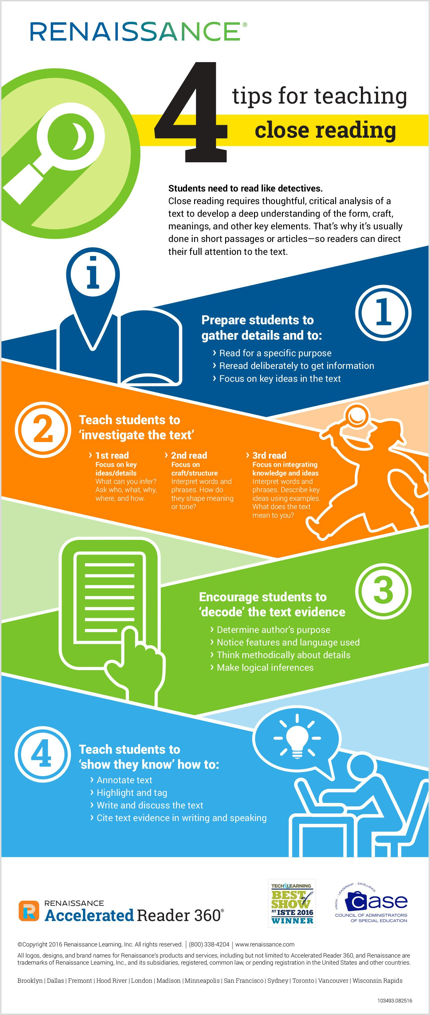 4 Tips For Teaching Close Reading Infographic