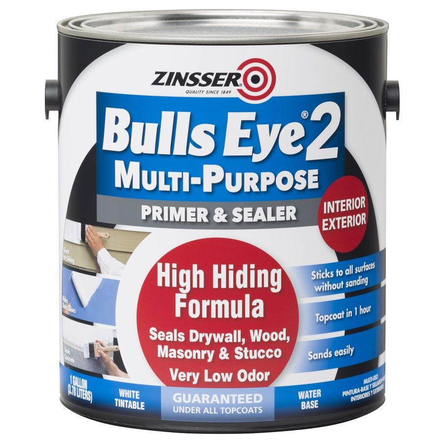 Zinsser Bulls Eye 2 Interior Exterior Multi Purpose Water Based Wall And Ceiling Primer Actual Net Contents 128 Fl Oz In 2020 Water Stain On Ceiling Painting Over Stained Wood Primer