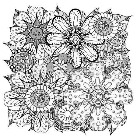 Doodle de flores y hojas — Vector de stock   Coloring pages ...