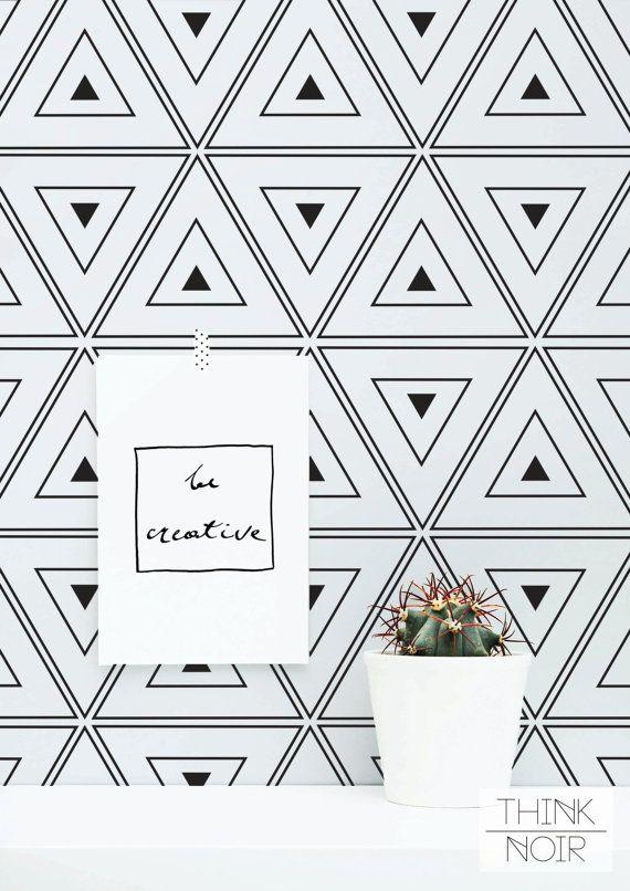 Geometric Triangle Wallpaper Geometric Removable Wallpaper Black