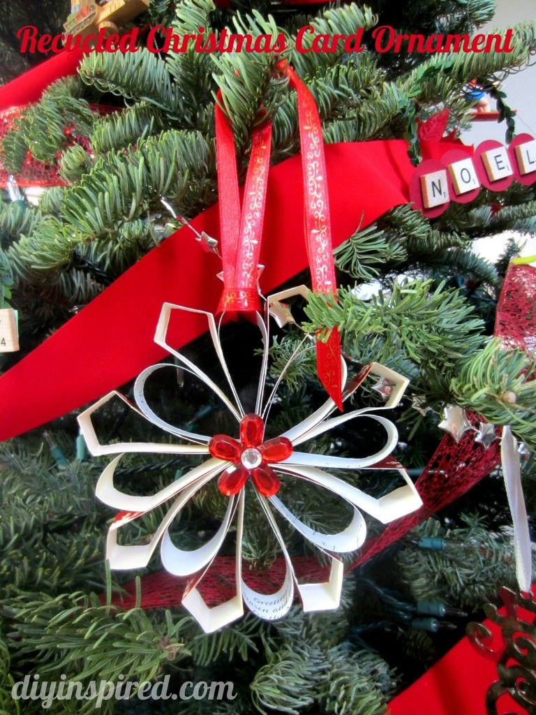 Wreath From Old Christmas Cards - Recycled christmas card ornaments
