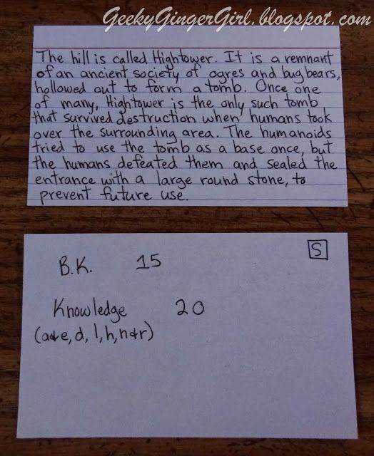 For the Organized DM: Using Info Cards to Increase Roleplaying and Decrease Metagaming (D&D, Dungeons and Dragons, RPG)