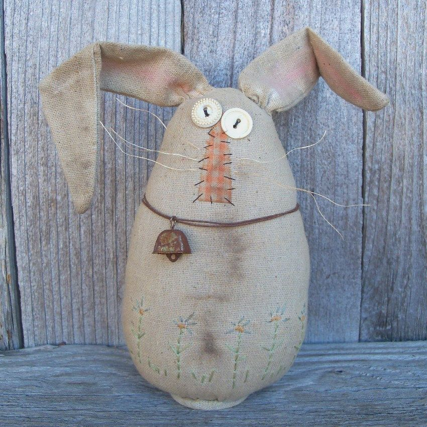 Bert the Easter Egg Bunny, Rabbit, Easter Decoration, Country, Primitive, Rustic, Spring Decor, Flowers, Handmade. $21.00, via Etsy.