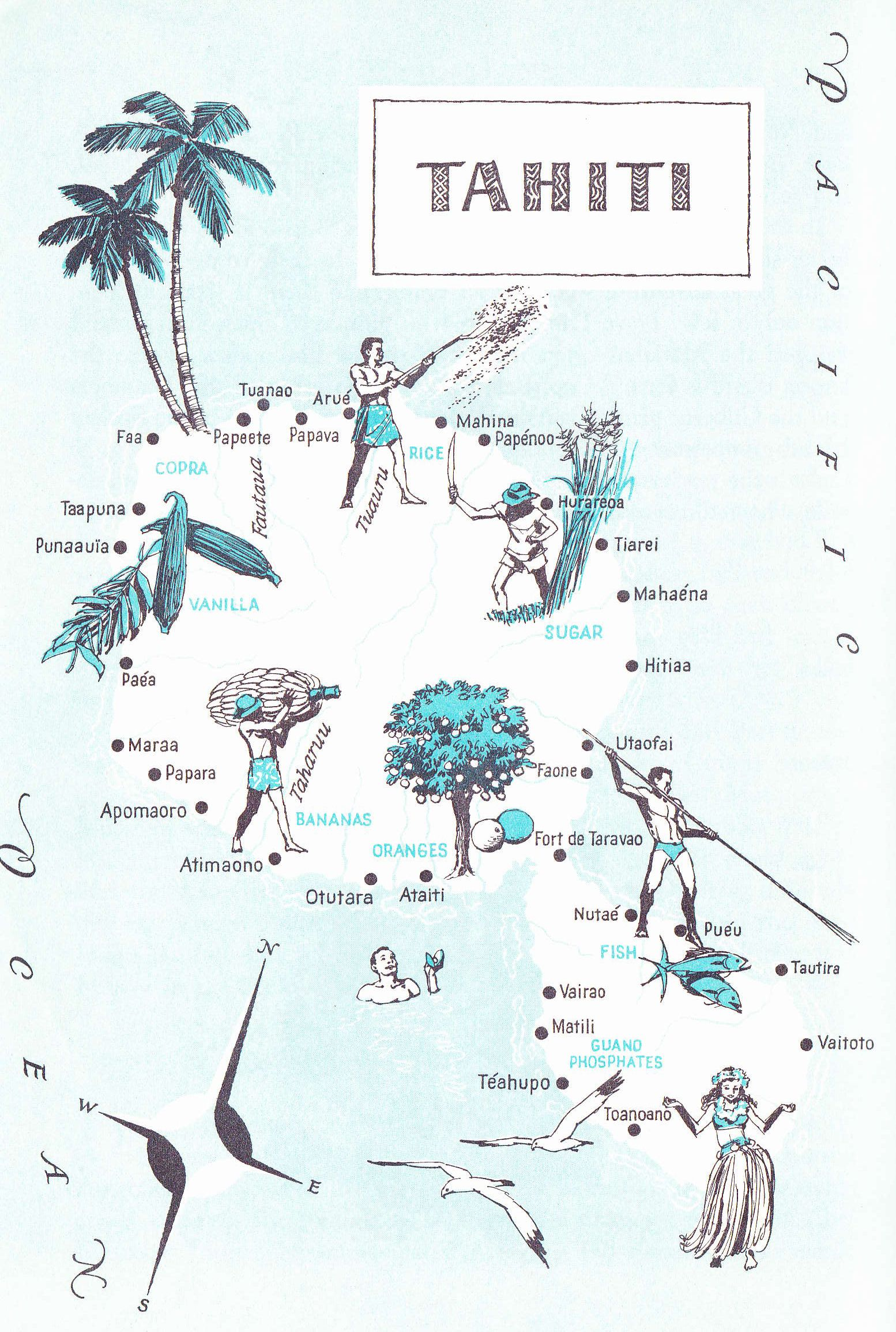 Old Map of Tahiti