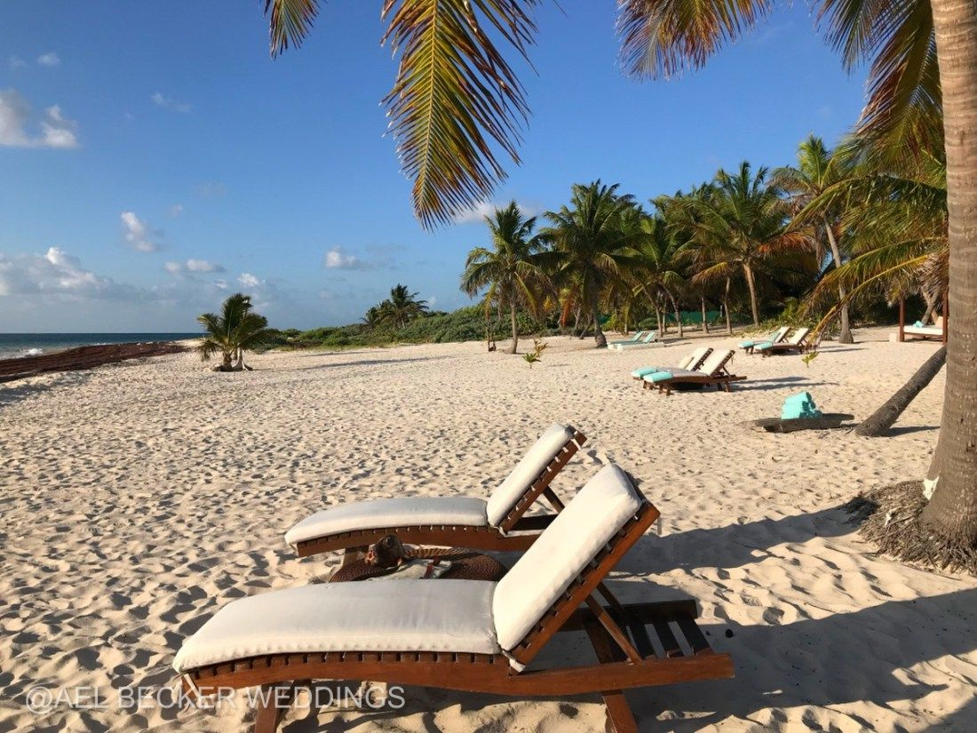 Mukan Resort Beach And Lounge Chairs Sian Kaan Mexico Ael Becker Weddings