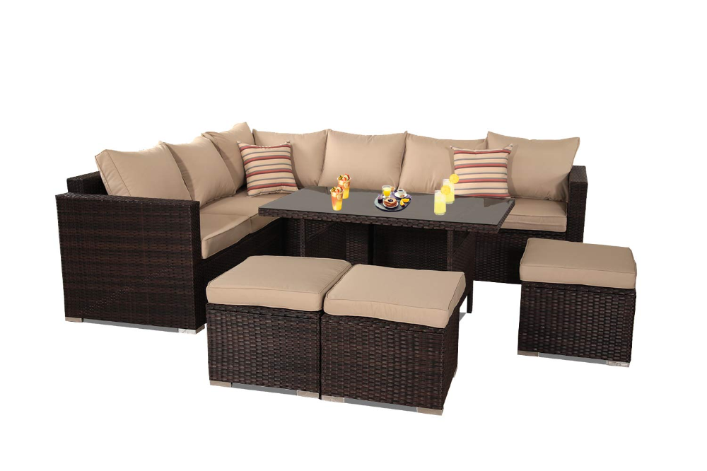 Amazonsmile Patio Furniture Garden 7 Pcs Sectional Sofa Brown Wicker Conversation Set Outdoor Indoo In 2020 Sectional Patio Furniture Outdoor Furniture Sets Couch Set