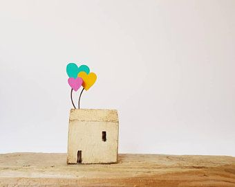 Little wooden folk art Cornish cottage Rainbow heart balloons Up house Housewarming Mother's day Loved one Birthday gift. Handcrafted
