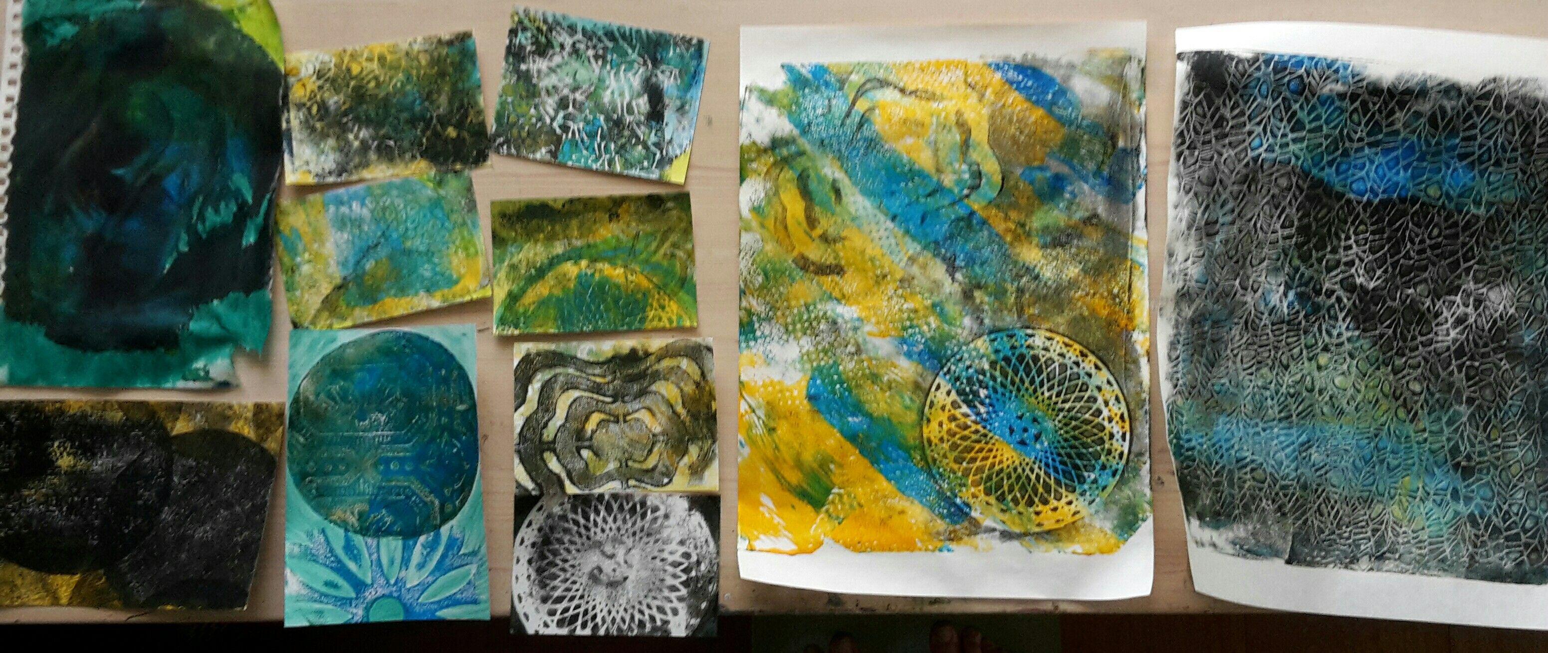 gelli prints yellow blue black