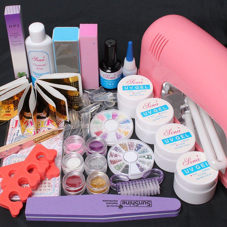 WindMax(R) 22 in 1 Comb Kit Pink Clear White UV Bulider Gel Kit 9W ...