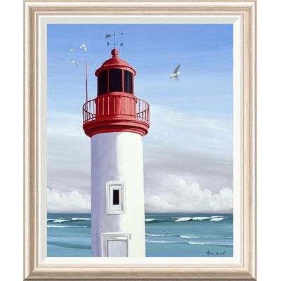 """Global Gallery 'Le Phare' by Henri Deuil Framed Painting Print Size: 32"""" H x 26"""" W x 1.5"""" D"""