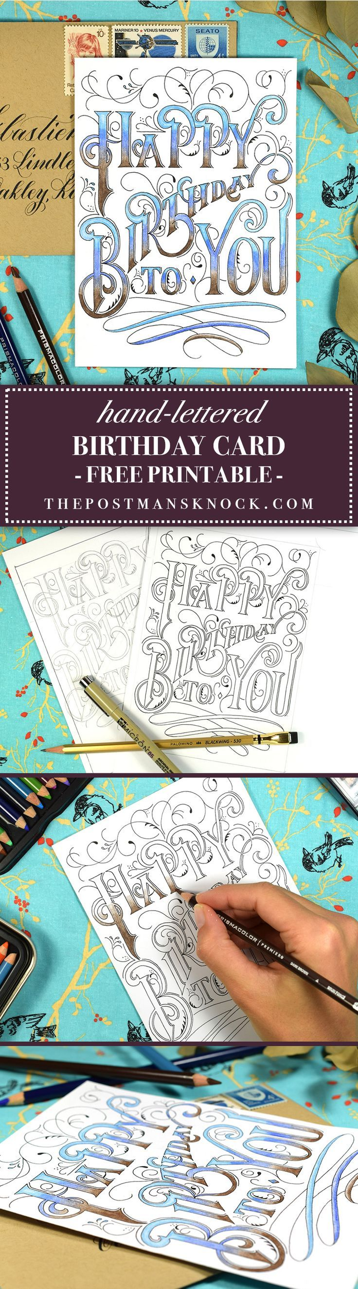 Handlettered printable birthday card card ideas birthday diy