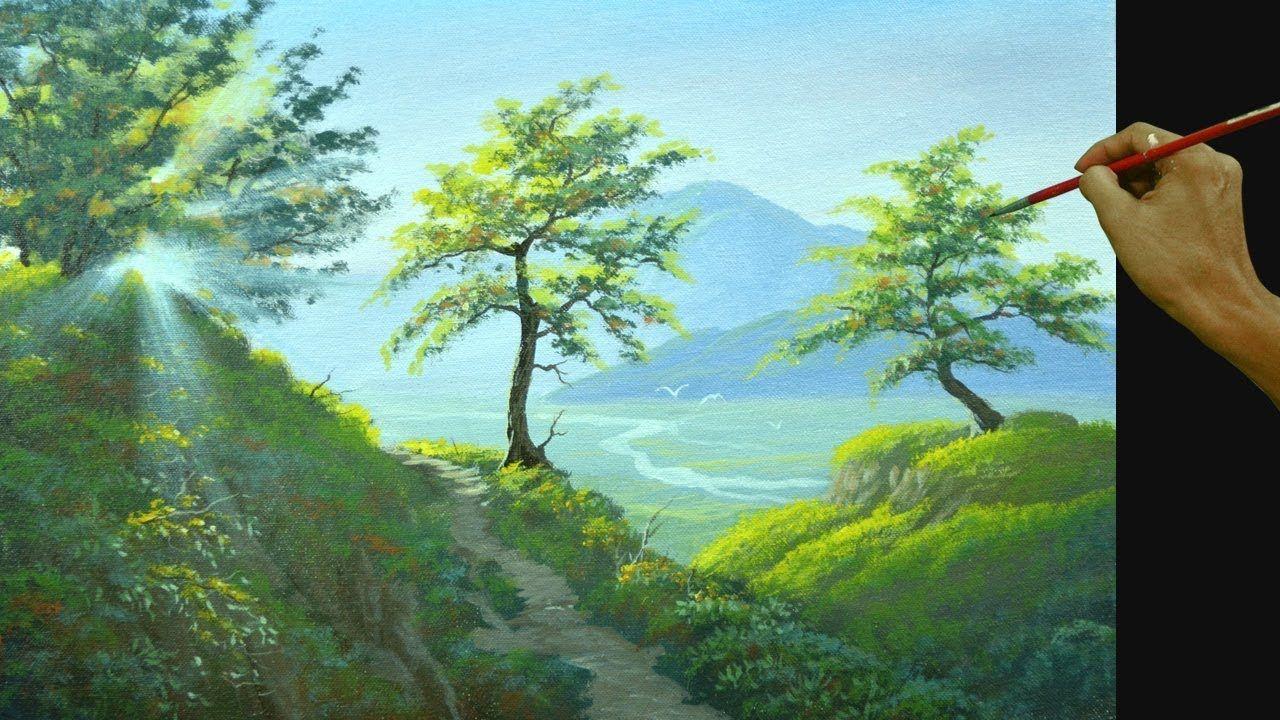 Acrylic Landscape Painting Tutorial Morning Sunshine Youtube Landscape Painting Tutorial Landscape Paintings Acrylic Landscape Paintings