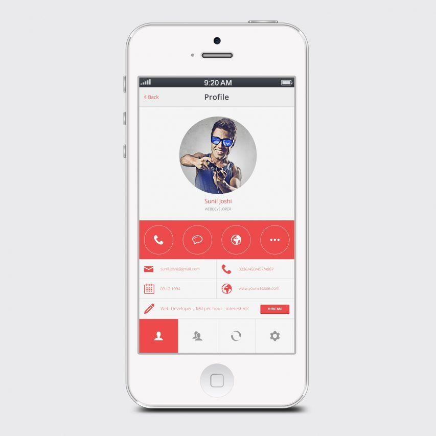 Clean White User Profile Mobile App PSD Mobile app