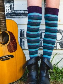 481d8d53282 Theia Striped Over the Knee Socks by RocknSocks - Shades of Blue ...
