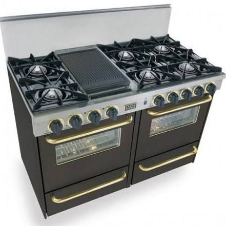 Five Star All Gas Range Open Burners Black With Br Trim