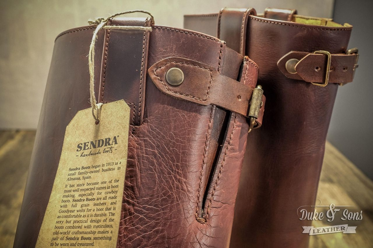I modified these Sendra boots with hand stiched finishing.