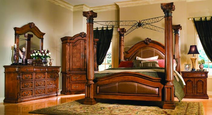 The Furniture Corinthian Master Poster Bedroom Collection In Burl Finish By Collezione Europa Free S Bedroom Sets Master Bedroom Set Dream Master Bedroom