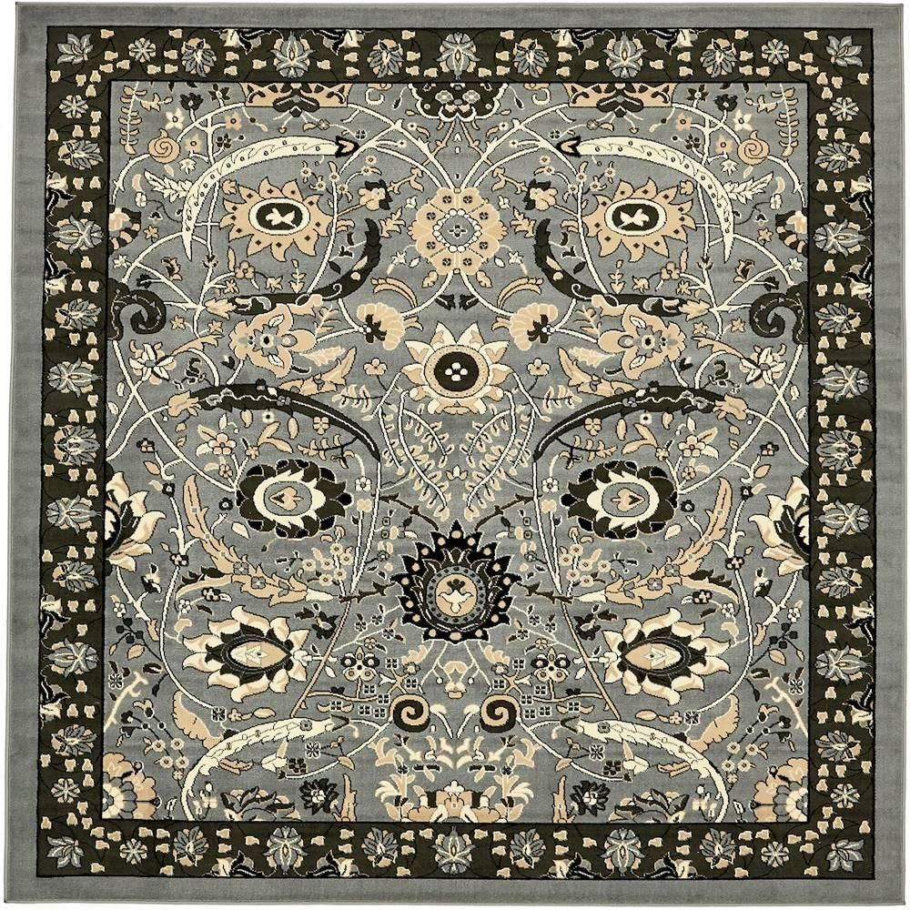 Unique Loom Espahan Cape Cod Light Gray 8 0 X 10 0 Area Rug Dark Gray Floral Area Rugs Square Rugs Area Rugs
