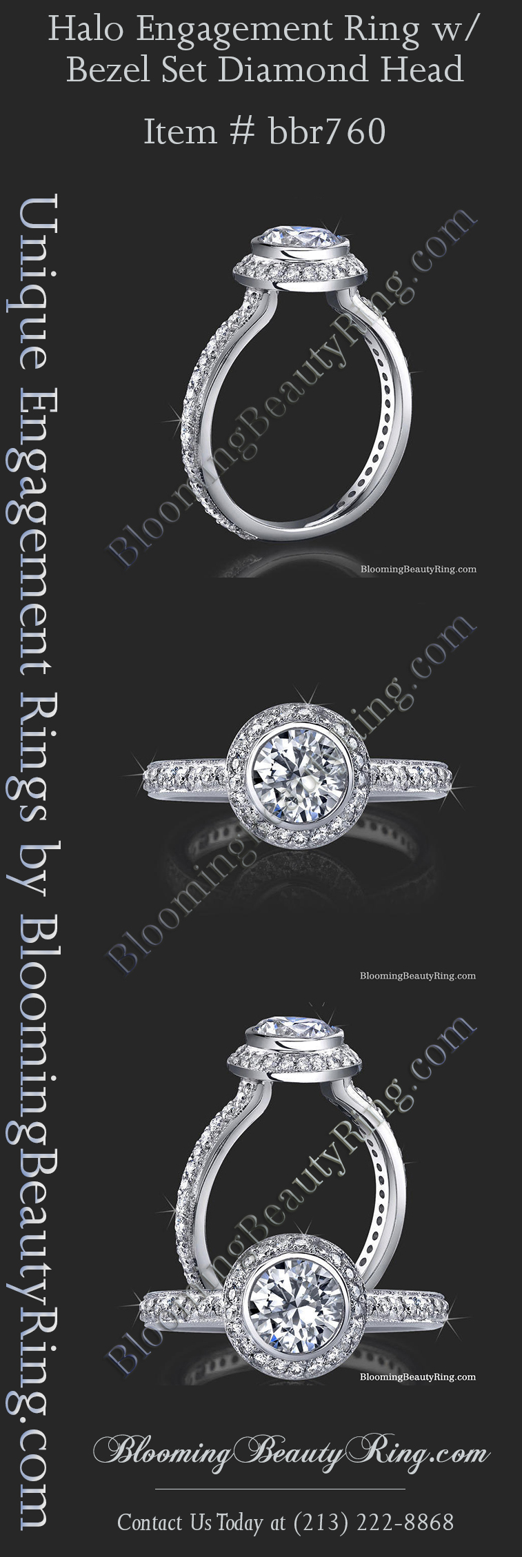 Halo Diamond Engagement Ring available in all metals and all diamond shapes.  Matching wedding bands are also available for all of our diamond engagement rings at BloomingBeautyRing.com  (213) 222-8868