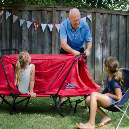 The Kidu0027s Tent Cot features four tent openings with no-see-um netting & The Kidu0027s Tent Cot features four tent openings with no-see-um ...