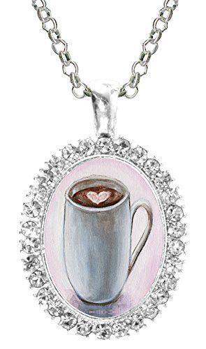Hot Cocoa Cup Cafe Froth Heart Cz Crystal Silver Necklace Pendant