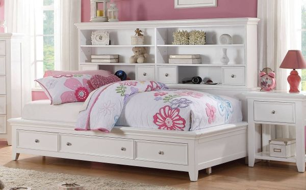Acme 30590t Lacey White Finish Wood Twin Day Bed Storage Drawers