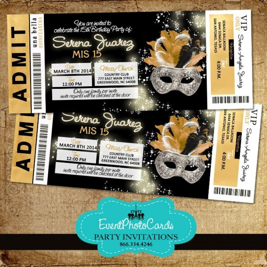 Gold black invitations ticket 1 masquerade ball pinterest sweet 16 sweet sixteen for Maquerade invitations