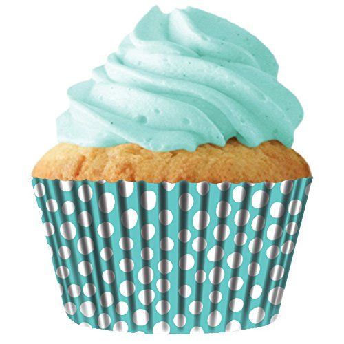 Turquoise Dots Standard Cupcake Baking Cup Liners, 32 Count by Cupcake Creations *** Additional details at the pin image, click it @ - Baking Accessories