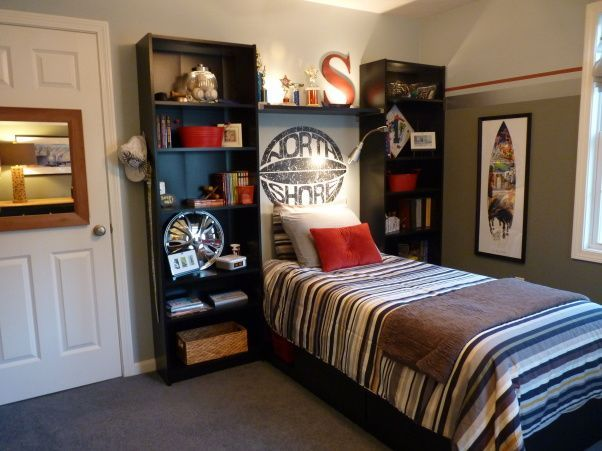 Teenage Boys Bedroom Paint Ideas With Simple Grey Wall Paint Nad Stripe Bed And Two Side