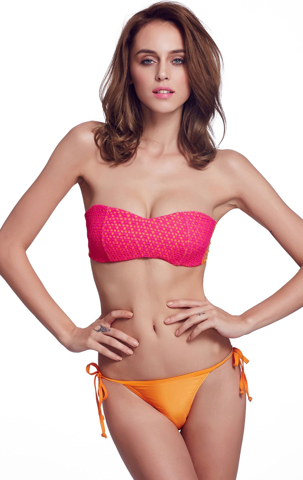 f3e02235065b7 Shop Red Lace Bandage Top With Yellow Triangle Bikini Set online. SheIn  offers Red Lace