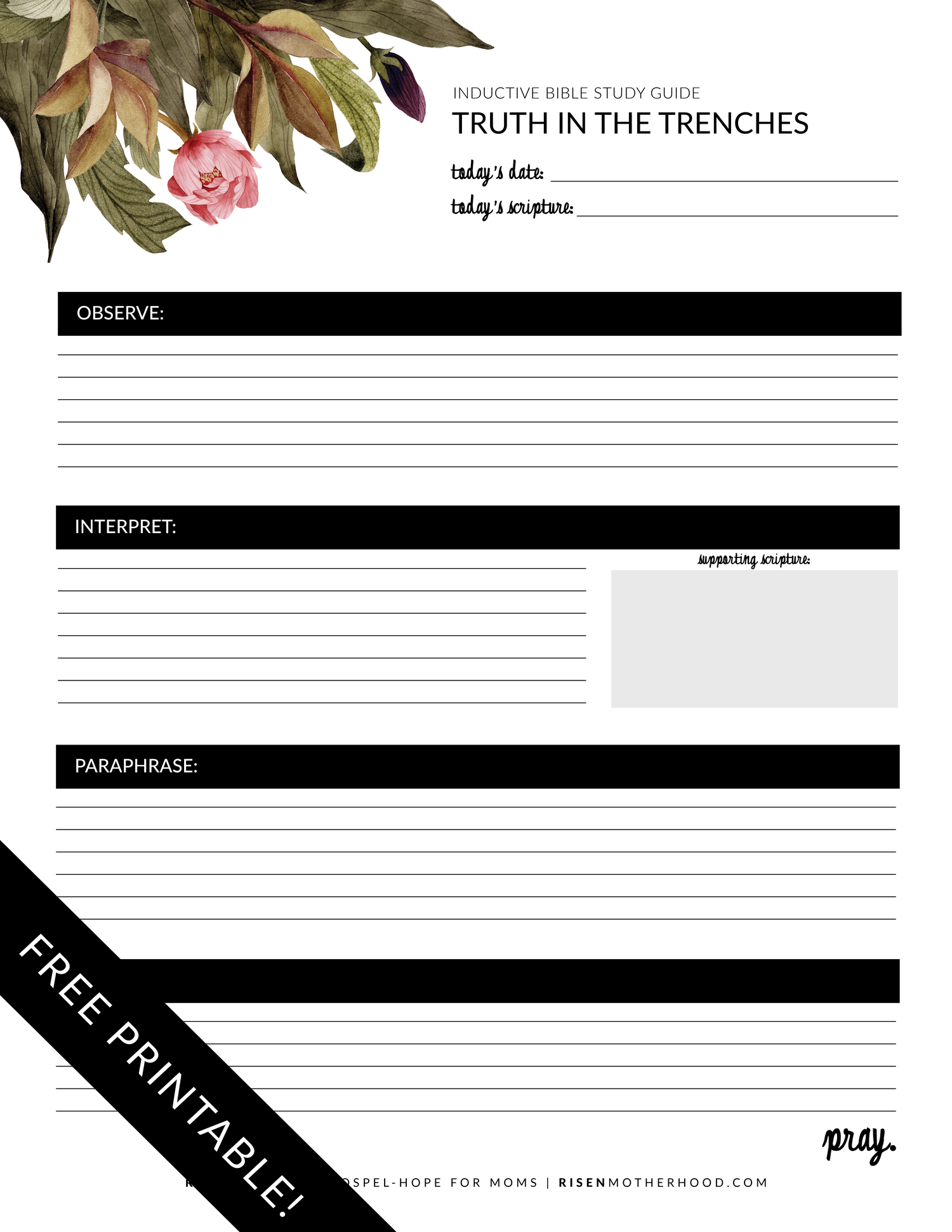 Free Printable Inductive Bible Study Worksheets