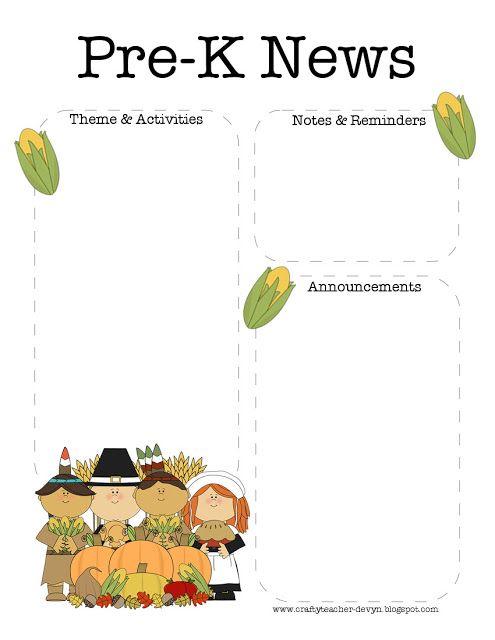 November Thanksgiving Pre K Newsletter Template Calendars