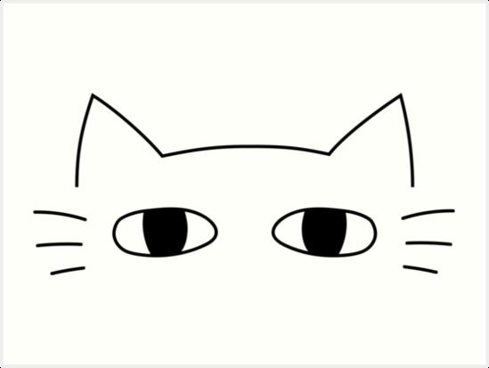 Minimalist Cat Face Art Print By Atiqahkamal Cat Art Face Art Cat Face