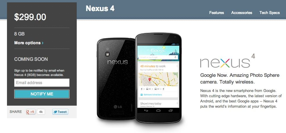 Google's Nexus 4 site shows stock out in US, but some users still able to purchase - via thenextweb.com
