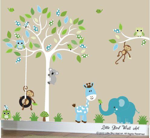 Childrens weiß Baum Aufkleber Kinderzimmer Kunst Dschungel Eulen ...