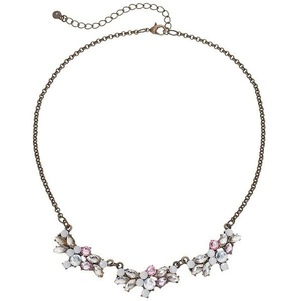 LC Lauren Conrad Pink Faceted Cluster Necklace (€20) ❤ liked on Polyvore featuring jewelry, necklaces, pink, lobster claw clasp charms, gold jewelry, lobster clasp charms, lobster claw charms and gold necklace