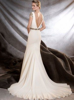 abe952a04e19 Elegant fit and flare crepe wedding dresses with delicate embellished cap  sleeve and low back by Pronovias- ORVILLE