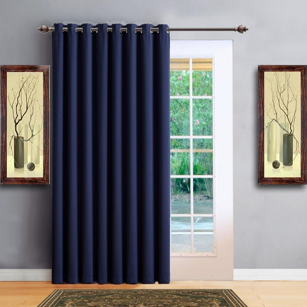 Warm Home Designs Extra Wide Navy Blue Patio Door Curtains Wall To