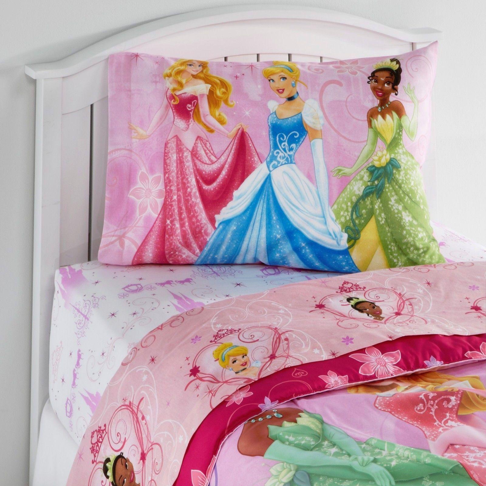 Kids Disney Princess Girlu0027s Twin Bed Bedding Sheet Pillowcase Set Kids