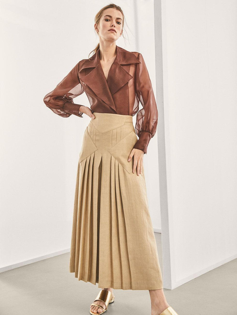 25bc0b1b09 LIMITED EDITION LINEN SKIRT WITH PLEATED DETAIL - Women - Massimo Dutti