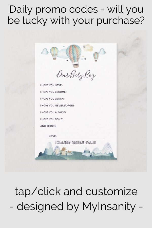 Hot Air Balloon Party Wishes for Baby Advice Card | Zazzle.com